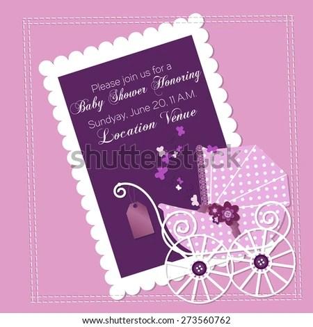 Baby Shower Invitation Template Vector Illustration Stock Vector HD