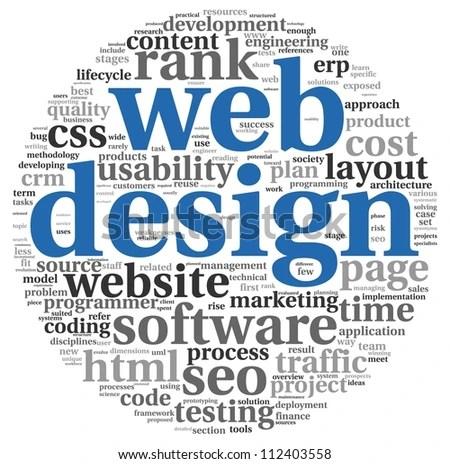 Web Design Concept Word Tag Cloud Stock Illustration 112403558