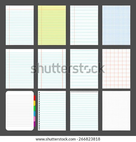 Vector Note Book A 4 Paper Patterns Stock Vector HD (Royalty Free - color lined paper