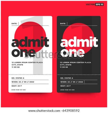 Event Ticket Template Venue Date Details Stock Vector 641974852 - admit one ticket template