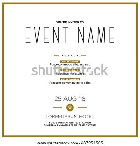 Event Invitation Template Agenda Venue Date Stock Vector HD (Royalty - free event invitation templates