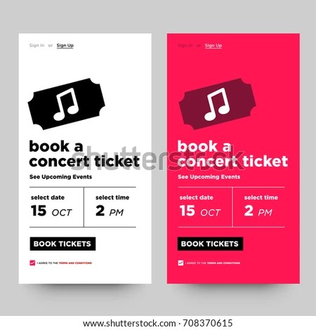Book Concert Ticket See Upcoming Events Stock Vector 708370615 - concert tickets design