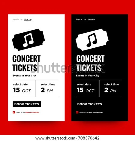Concert Tickets Events Your City UI Stock Vector 708370642 - concert tickets design