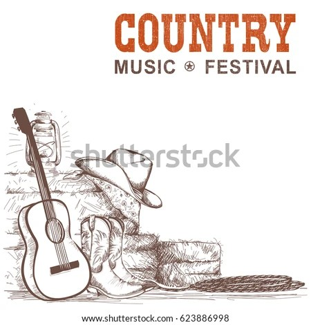 Country Music Background Guitar American Cowboy Stock Vector HD