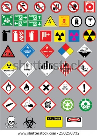 Chemistry Hazard Warning Symbols Vector Set Stock Vector (Royalty - chemistry safety