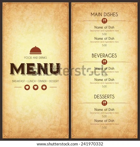 Restaurant Menu Design Vector Menu Brochure Stock Vector 241970332