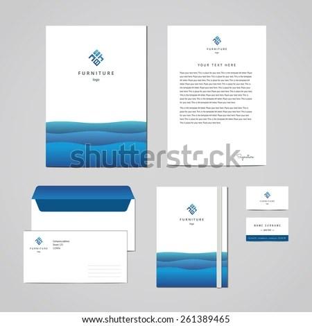 Corporate Identity Furniture Company Blue Design Stock Vector
