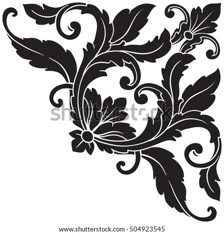 Vintage Baroque Corner Scroll Ornament Engraving Stock Vector HD - baroque scroll designs