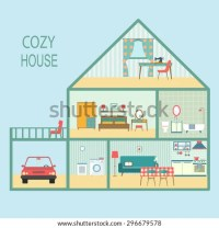 Flat Cozy House Section Interior Living Stock Vector