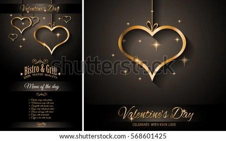 Valentines Day Restaurant Menu Template Background Stock Vector - event menu template