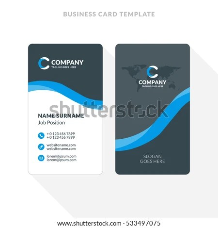 Vertical Doublesided Business Card Template Blue Stock Vector HD