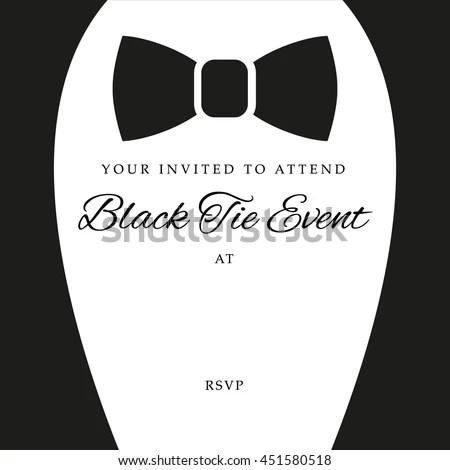 Black Tie Event Invite Template Vector Stock Vector