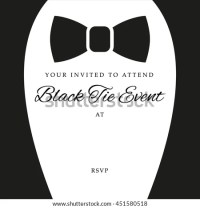 Black Tie Event Invite Template Vector Stock Vector