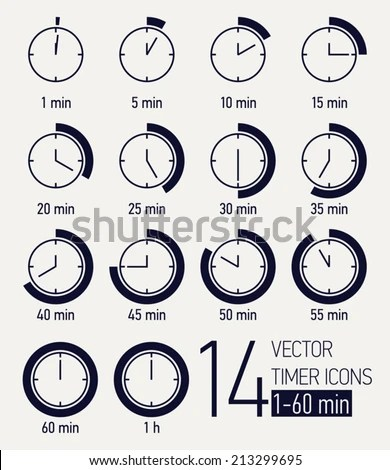 Vector Set Black White Timer Icons Stock Vector 213299695 - Shutterstock - set timer to 1 minute