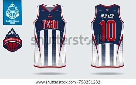 Basketball Uniform Sport Jersey Template Basketball Stock Vector