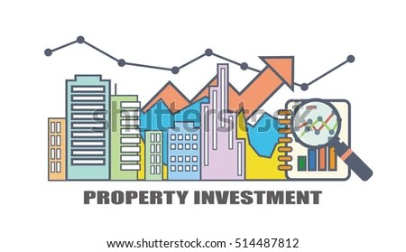 Flat Line Illustration Design Property Investment Stock Vector HD - real estate market analysis
