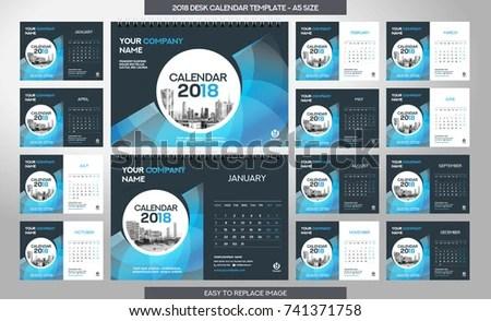 Desk Calendar 2018 Template 12 Months Stock Photo (Photo, Vector - calendar template for website