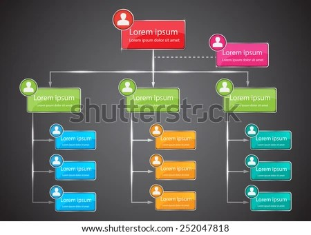 Colorful Organizational Chart Infographic Human Picture Stock Vector