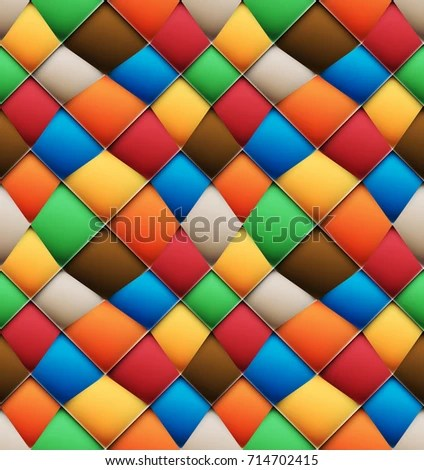 Multicolor Wavy Asymmetrical Patchwork Seamless Pattern Stock Vector