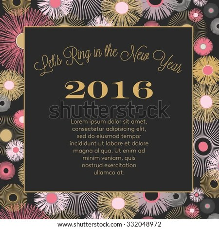 New Years Eve Party 2016 Invitation Stock Vector 332048972