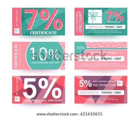 Discount Voucher Certificate Promo Code Design Stock Vector HD