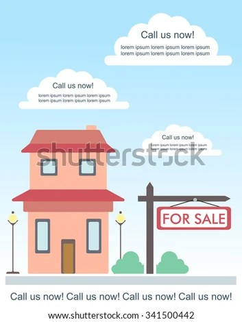 Vector Template Advertisement About House Sale Stock Photo (Photo - house for sale sign template