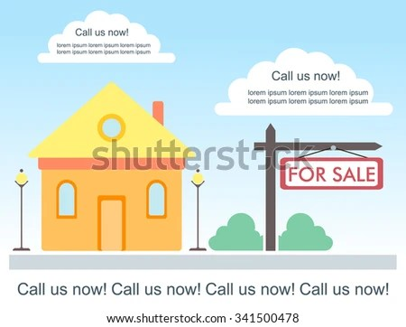 Vector Template Advertisement About House Sale Stock Vector (2018 - house for sale sign template