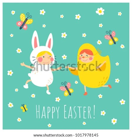 Vector Easter Greeting Card Template Funny Stock Vector 1017978145