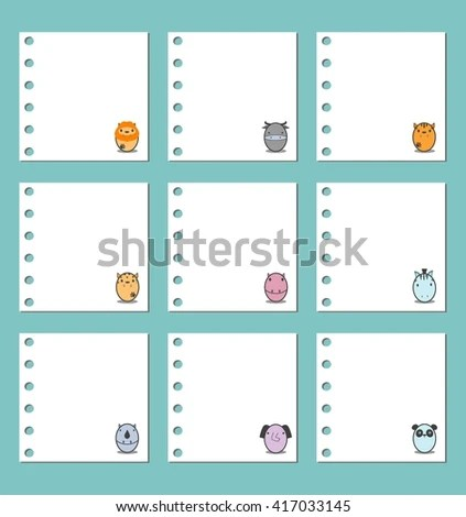 Collection Note Papers Notebook Paper Background Stock Vector