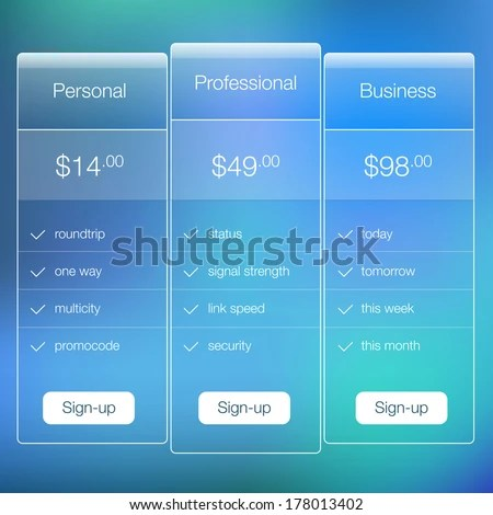 Modern Website Ui Template Design Transparent Stock Vector HD - price list design template