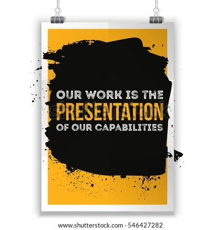 Our Work Presentation Our Capabilities Motivational Stock Vector - quote on presentation