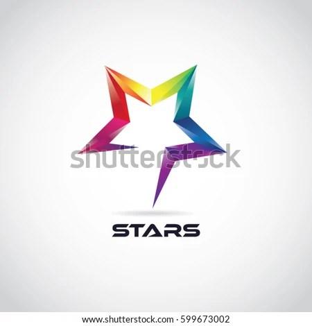Colorful 3 D Star Logo Symbol Stock Vector (Royalty Free) 599673002