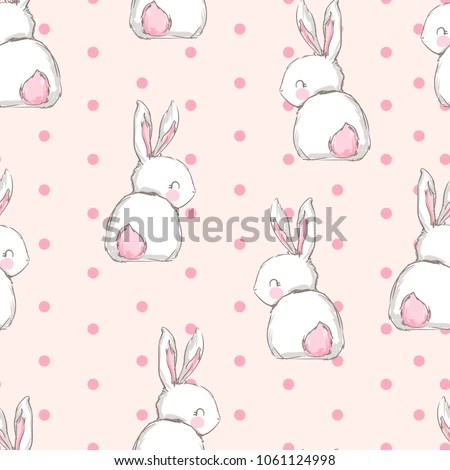Hand Drawn Cute Bunny Pattern Print Stock Vector 1061124998