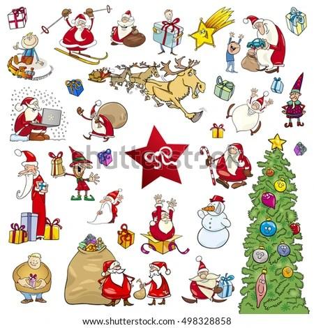 Cartoon Illustration Christmas Themes Design Elements Stock Vector - christmas themes images