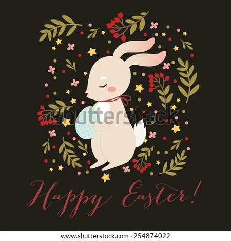 Happy Easter Greetings Card Template Cute Stock Vector 254874022 - easter greeting card template