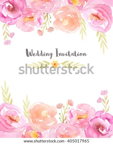 Wedding Invitation Template Hand Painted Watercolor Stock - wedding template