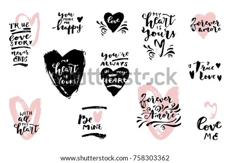Set Hand Drawn Love Quotes Hearts Stock Vector HD (Royalty Free
