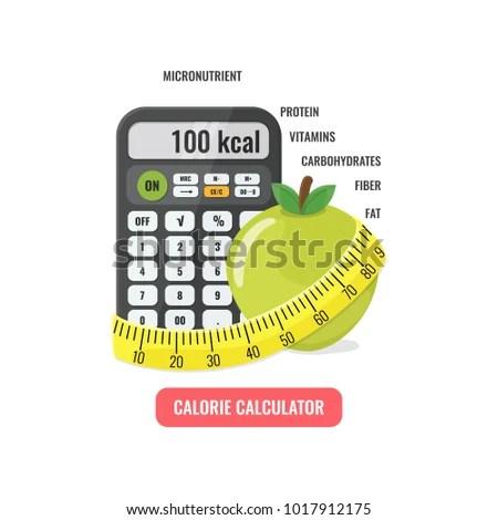 Calorie Calculator Concept Calculator Apple Measuring Stock Vector - calorie and fat calculator