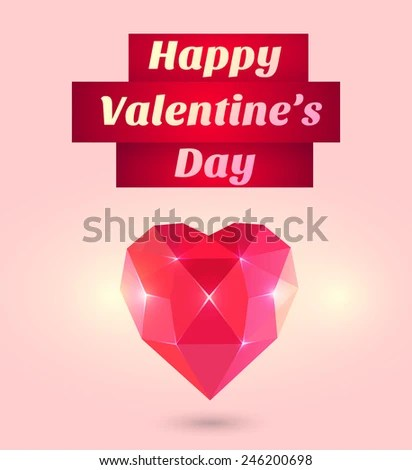 Happy Valentines Day Lettering Greeting Card Stock Photo (Photo