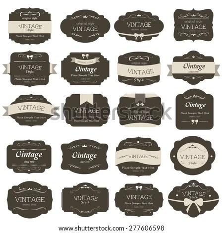 Set Vintage Label Old Fashion Banner Stock Photo (Photo, Vector - label