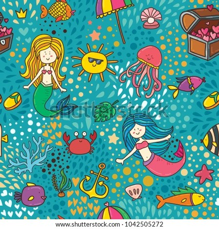 Cute Children Textile Seamless Pattern Background Stock Photo (Photo