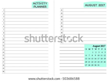 August 2017 Calendar Template Monthly Planner Stock Vector (2018 - daily routine template