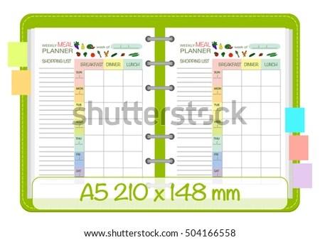 Weekly Meal Planner Template Menu Schedule Stock Vector HD (Royalty