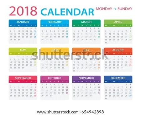 Vector Template Color 2018 Calendar Monday Stock Photo (Photo - monday sunday calendar