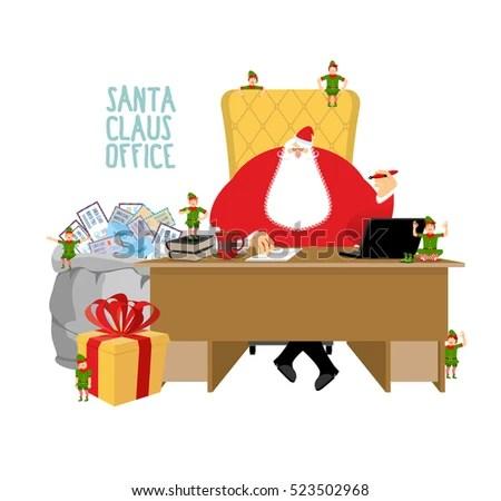 Santa Claus Office Letters Children Bag Stock Vector HD (Royalty - Santa Envelopes