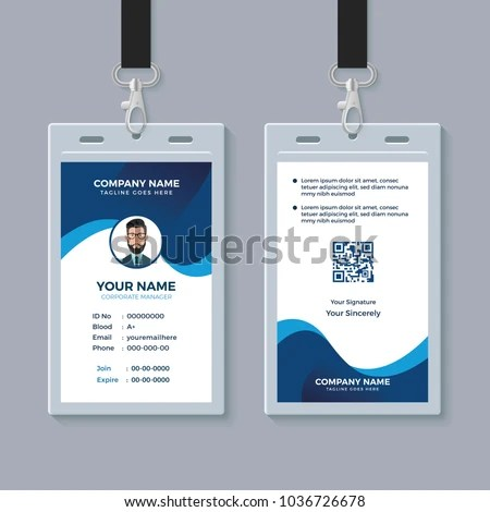 Modern Clean ID Card Template Stock Vector (2018) 1036726678