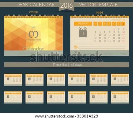 Calendar 2016 Vector Templates All Months Stock Vector HD (Royalty - calendar sample design