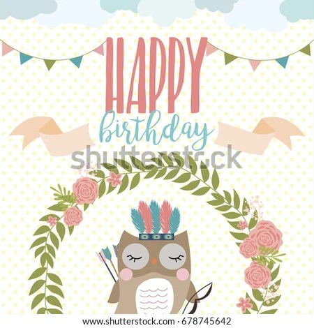 Happy Birthday Card Template Wreathfeather Arrow Stock Vector - template for a birthday card