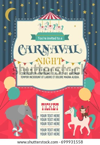 Happy Birthday Invitation Circus Party Circus Stock Vector 699931558 - circus party invitation