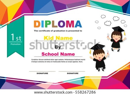 Graduation Certificate Stock Images, Royalty-Free Images \ Vectors - certificate template for kids